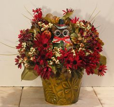 Pilgrim Owl Pumpkin Red Sunflower Floral by PamsDeZines on Etsy
