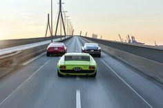 Lamborgini Miura (green)-Ferrari Daytona (red)-Iso Grifo (dark)