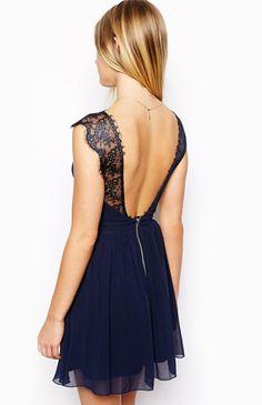 Blue Contrast Lace Backless Chiffon Dress