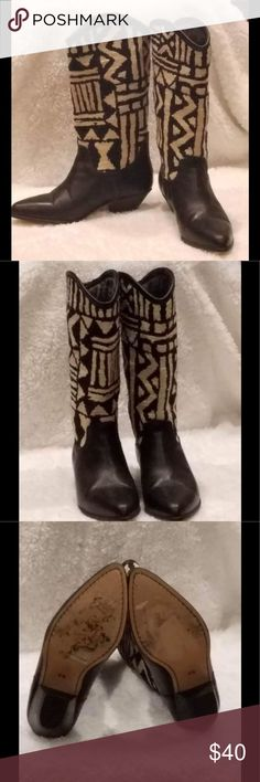 Seychelles Size 6 Leather Black and White Boots. SEYCHELLES Southwestern Tapestry Leather Black  and white Aztec cowboy, tribal boots Size 6.  Interior of boots shows a lot of wear. Seychelles Shoes Ankle Boots & Booties