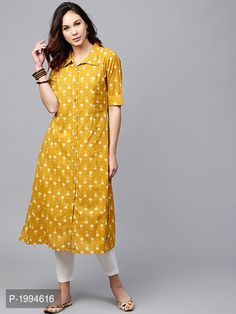 Buy Aks Mustard Yellow Printed A Line Kurta online in India at best price.Fabric : Cotton Length : Calf Length Sleeves : Short Sleeves Neck : Collar Fit : Fitted And Flared Wash Plain Kurti Designs, Printed Kurti Designs, Simple Kurta Designs, Churidar Designs, Kurta Designs Women, Latest Kurti Designs, Sleeves Designs For Dresses, Dress Neck Designs, A Line Kurti