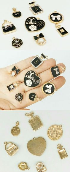 DIY charms, Set 8pcs, Bracelets Charm, charms camelia, charm Heart,spirit,bag
