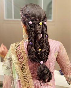 This pretty unique multi braided hairstyle is perfect for your pre wedding functions. Add small florals to make it look even more pretty. PC: ritikahairstylist #hairstyles #hair #hairgoals #hairideas #wittyvows #bridalhair #bridalhairstyle #bridalhairaccessories #wedding #indianwedding #indianbride #braids #braidstyles Bridal Hairstyles, Diy Hairstyles, Dreadlocks, Braided Hairstyle, Indian Bridal, Hair Styles, Florals, Braids, Beauty