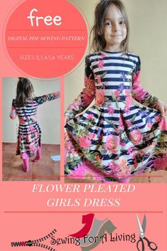 Girls Pleated Dress | This free dress pattern is perfect for an Easter dress!