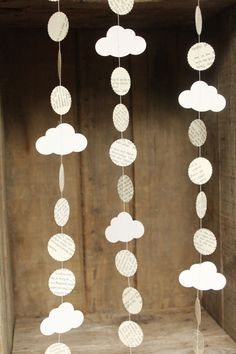 Cloud Garland, Cloud Decoration, Paper Garland, Paper Cloud Garland, Book Page Garland, Paper Decoration, Made to order, 10 feet long