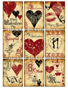 Items similar to Vintage Valentine ATC cards for scrapbooking,cards,crafts,etc. on Etsy. , via Etsy.