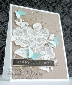 antique butterflies and flowers: HA, heat embossing on vellum, MAD stamper