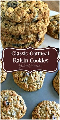 oatmeal cookies Our Classic Oatmeal Raisin Cookies are moist, thick and chewy, with lots of raisins, a touch of cinnamon, and a ton of wholesome oats. If youve been looking for a delicious oatmeal raisin cookie recipe - this is the ONE! The Oatmeal, Oatmeal Raisins, Best Oatmeal Raisin Cookies, Oatmeal Cookie Recipes, Easy Oatmeal Cookies, Old Fashioned Oatmeal Cookies, Oat Cookies, Steel Cut Oatmeal Cookies, Vegan Oatmeal Raisin Cookies