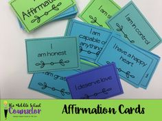 100 Affirmations To Help Build Self-Esteem and Self-Confidence - The Middle School Counselor High School Counseling, Elementary School Counselor, Elementary Schools, Group Counseling, Counseling Office, Primary Education, High Schools, Character Education Lessons, Teaching Character