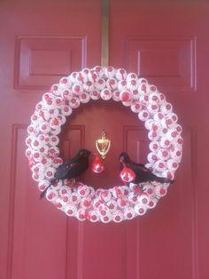 DIY Halloween eyeball wreath.Total cost $17. Dollar store items.