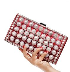 New 2017 Pearls Evening Bags Square Clutch Bag Gold Silver Black Evening Clutch Wedding Party Bride Purse Handbags