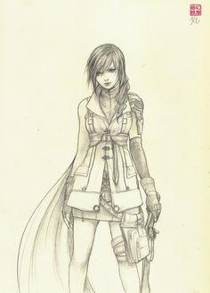 Jasmin Darnell. beautiful sketch of Lightning from FFXIII