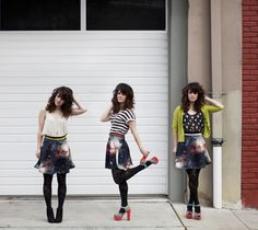 Modcloth Galaxy skirt. I <333 how she put all three outfits together.