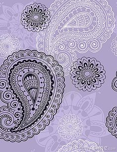 Delicate Henna Paisley Seamless Repeat Pattern