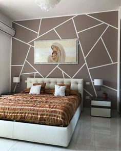 Bedroom Paint Design, Bedroom Wall Designs, Bedroom Wall Colors, Bedroom Furniture Design, Room Ideas Bedroom, Home Room Design, Home Bedroom, Indian Bedroom Decor, Room Inspiration