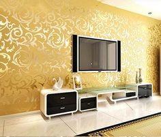 Wallpaper Rolls Silver Golden Apricot Luxury Embossed Patten Textured Home Wall Decor Living Room Paint Design, Room Paint Designs, Living Room Designs, Home Wall Decor, Cheap Home Decor, Tv Decor, Decor Ideas, Living Room Pictures, Picture Design