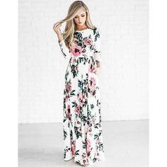 Bohemian Overall Floral Print Quarter Sleeve Women Long Dress