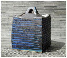 blue container by Sequoia Miller Ceramic Boxes, Ceramic Jars, Ceramic Clay, Hand Built Pottery, Slab Pottery, Ceramic Pottery, Slab Boxes, Korean Pottery, Vases