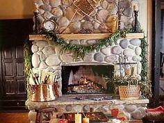 River Rock fireplace. black interior doors.