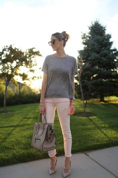 Blush with heather gray. Obsessed with those shoes!