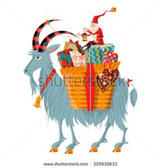 Scandinavian Christmas tradition. Christmas Gnome and Yule goat with a gift basket. Vector illustration - stock vector