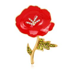 2017 Sale New Arrival Plant Trendy Resin Brooches For Women Tone Enamel And Diamante Poppy Flower Brooch  #Affiliate