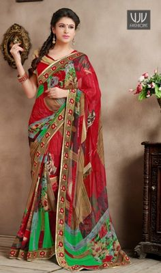 Amazing Red Satin Half And Half casual Saree Amazing Red Satin Half And Half casual Saree First half in art silk jacquard features decorative jacquard patterns. Second half in net is beautified with floral brasso patterns.
