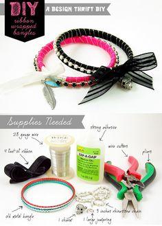 Beautiful DIY Bangles Wrapped with Ribbon and Rhinestones | Idea Digezt