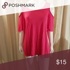 "Cold Shoulder Top **Brand New** flirty pink top with ""cold shoulder"" cut out. Shirt has a flowy fit. Perfect to show a little skin without being over exposed. Size large, 95? viscose, 5% spandex elasthanne. bobeau Tops"