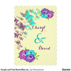 Purple and Teal Butterflies and Whimsical Flowers Custom Invites