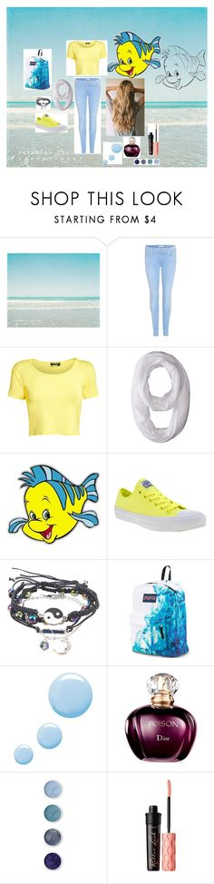 """""""Flounder"""" by chelseafullerton ❤ liked on Polyvore featuring 7 For All Mankind, Pilot, Nike Golf, Disney, Converse, JanSport, Topshop, Terre Mère and Benefit"""
