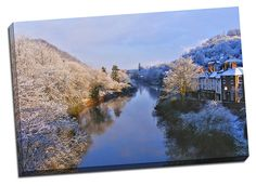 The Gorge Telford iron bridge home town canvas print framed picture winter scene