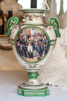 Antique Hand Painted French Porcelain Napoleonic Scenes Urn