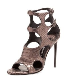 Cutout Python and Leather 105mm Sandal, Antique Gunmetal by TOM FORD at Neiman Marcus.