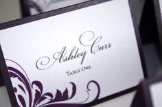 Wedding Place Cards set of 10  Plum by sarahcoatsdesigns on Etsy, $14.00