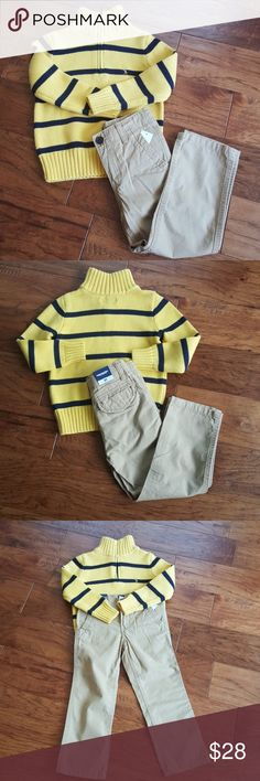 Youth Polo Sweater and Gap Khakis Pre-loved sweater and NWT khakis, being sold as a set, sweater in great condition, Zipper closure, mock turtleneck, film on pants from size sticker, can be removed when washed, sweater size 4, pants size 4T Matching Sets