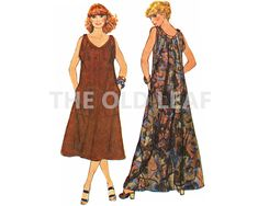 Sewing Pattern for 70s Muu Muu Dress with Pockets, Simplicity 8889 #70sFashion #MuumuuPattern #TentDressPattern #Dressmaking #CasualSummer #LooseFitDress #TheOldLeaf