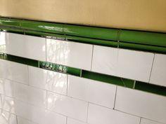 subway tile – Meanwhile, at the Manse 1920s Bathroom, Art Deco Bathroom, Victorian Bathroom, Small Bathroom, Cozy Bathroom, Vintage Bathrooms, Craftsman Style Bathrooms, Art Deco Tiles, Penny Tile
