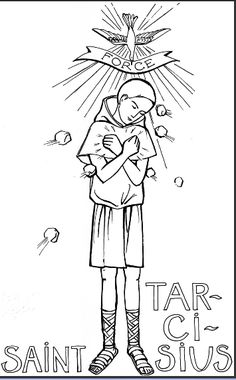 St. Tarcissius Catholic Coloring Page    Coloriage : Saint Tarcisus | Avec Marie, les enfants du monde prient pour la paix et les vocations