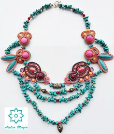 soutache and turquoise necklace - Atelier Magia by Katarzyna Wysocka