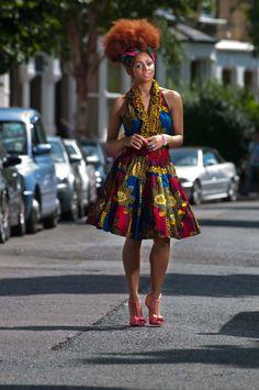 African-Wax-Print-Ruffle-Halter-Neck-Dress-2 zanjoo lookbook, peeks, afro, natural hair, hair wrap, colourful dress, black girls,