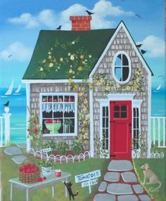 Fresh Tomatoes Cottage ORIGINAL Folk Art by KimsCottageArt on Etsy