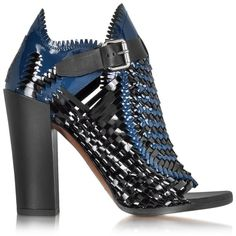 Proenza Schouler Designer Shoes Black and Blue Woven Patent Leather... (3,290 CNY) ❤ liked on Polyvore