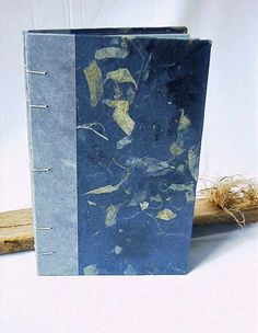 Large Handmade Journal, Blank Book, Guest Book,  Blue on Blue with Natural Fibers by BookArtsAndEphemera on Etsy