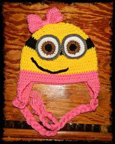 Crochet girl minion hat Minions Movie Characters, Minion Movie, Crochet Girls, Crochet Baby, Free Crochet, Children Hats, Kids Hats, Minion Pattern, Girl Minion