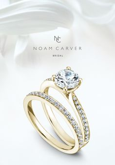 This glorious Noam Carver modern solitaire engagement ring set is featured on WeddingChicks today!
