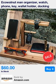 Handy organizer of the wood natural nut for your everyday things will look great both on the desktop and in the home. This may be a smartphone, tablet, wallet, sunglasses, keys or pens - now you can always be sure that you know where it all is. Male organizer - a great gift for friends of all ages! High quality products will pleasantly surprise anyone who will get it, and the execution of environmentally friendly materials will always be in trend! * Size : 12x9.5x6 inch * Material : crafted…