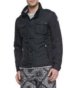 Moncler Mate Nylon Field Jacket, Striped Short-Sleeve Tee & Floral-Print Bermuda Shorts - Bergdorf Goodman