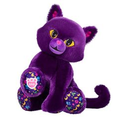 Purple Cat Stuffed Animal   Shop Purple Moon Kitty at Build-A-Bear® Stuffed Animal Cat, Purple Cat, Blue Gift, Halloween Festival, Friend Outfits, Yellow Eyes, Build A Bear, Party Stores, Pet Shop