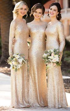Sorella Vita Bridesmaid Dresses, Bridesmaid Dresses 2017, Champagne Bridesmaid Dresses, Gold Bridesmaids, Prom Dresses, Bride Dresses, Bridesmaid Ideas, Gold Glitter Bridesmaid Dresses, Long Dresses